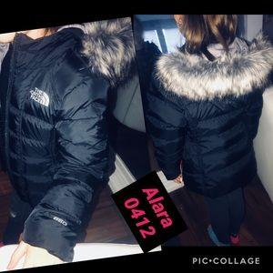 GIRLS NORTH FACE SIZE XS GOTHAM BLACK FAUX FUR
